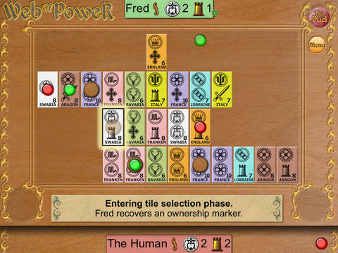 Michael Schacht's Web of Power Card Game: The Duel iPadアプリ