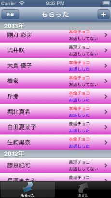 チョコ管理 iPhoneアプリ